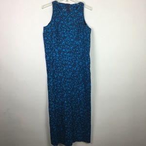Vintage handmade blue floral maxi dress